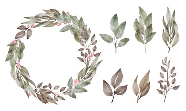 Set aquarel bloem en blad. bloemen beschilderd met waterverf voor groet en uitnodigingskaartdecoratie.