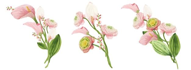 Set aquarel bloemboeketten van roze calla lelies