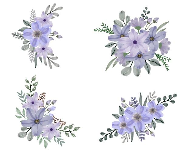 Set aquarel bloemen frame boeketten