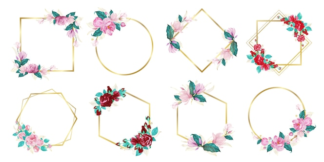 Set aquarel bloemen frame voor bruiloft monogram logo en branding logo ontwerp