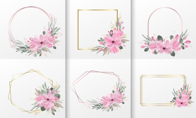 Set aquarel bloemen frame