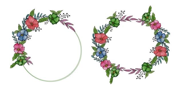 Set aquarel bloemstukken van groen en bourgondië en rode rozen en bladeren