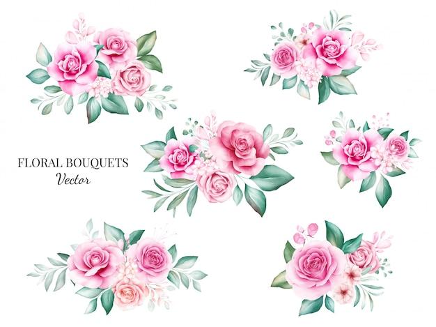 Set aquarel boeketten voor logo of bruiloft kaart samenstelling. botanische decoratie illustratie van perzik en rode rozen, bladeren, takken en gouden glitter