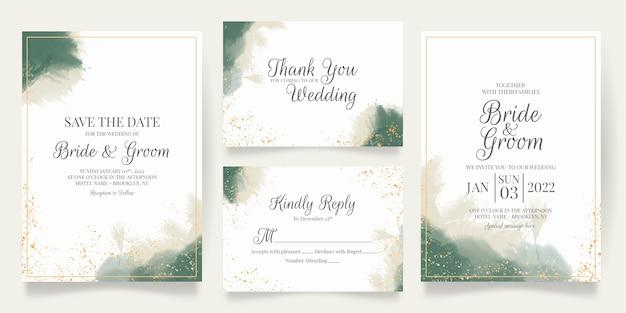 Set aquarel bruiloft uitnodiging