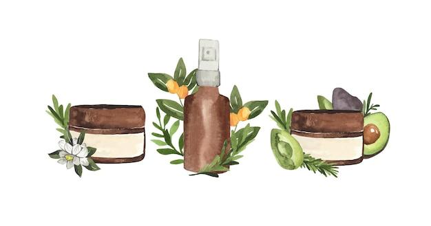 Set aquarel cosmetische schoonheid huidverzorgingsproducten