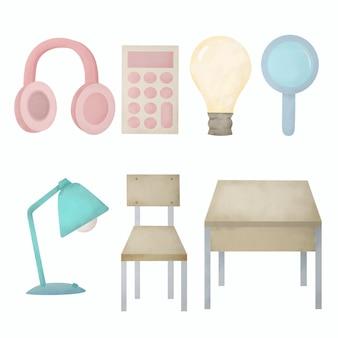Set aquarel educatieve items