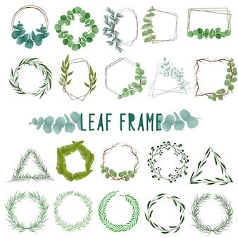 Set aquarel geschilderd blad frame, groene bladeren clipart. hand getekend geïsoleerd op een witte achtergrond.