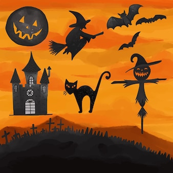 Set aquarel geschilderd halloween dag clipart. hand getrokken geïsoleerd op een witte achtergrond.