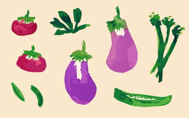 Set aquarel groenten tomaten aubergine geens komkommer herfst achtergrond print gezond