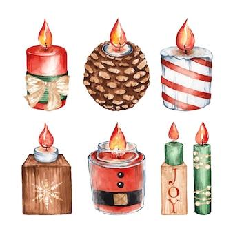 Set aquarel kerst kaarsen