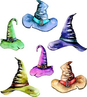 Set aquarel magic oude hoeden, handgeschilderde geïsoleerd
