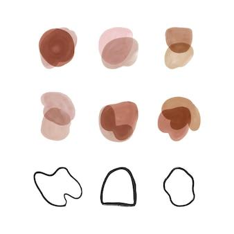 Set aquarel penseelstreek vormen en met de hand getekende lijnen