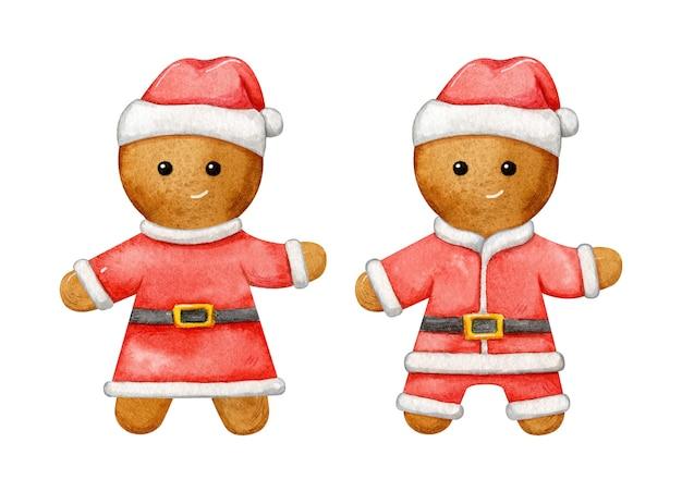 Set aquarel peperkoek man verkleed als kerstman