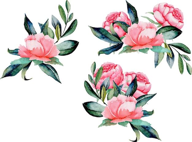 Set aquarel rode pioenrozen en groene bladeren boeketten
