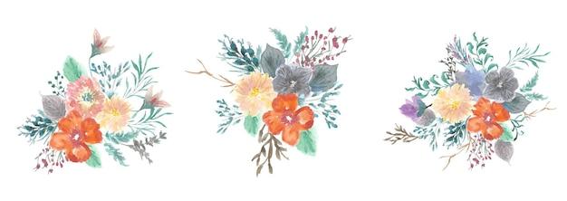 Set aquarel zachte bloemen boeketten