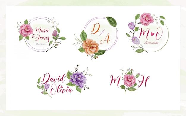 Set aquarellen bruiloft logo