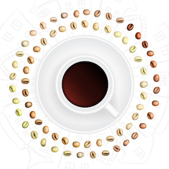 Set arabica en robusta koffiebonen met verschillende stadia van roosteren. realistische 3d-afbeelding van koffie korrels ronde frame en beker