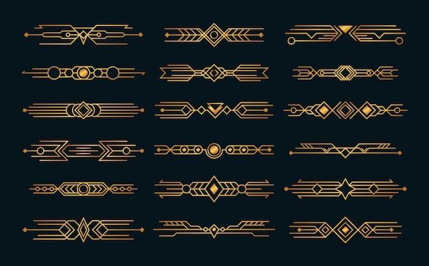 Set art deco composities headers stijl