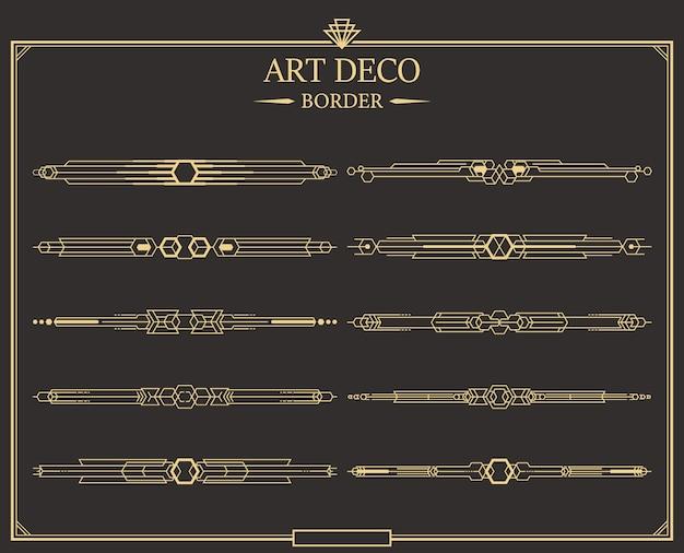 Set art deco gouden kalligrafische scheidingslijnen.