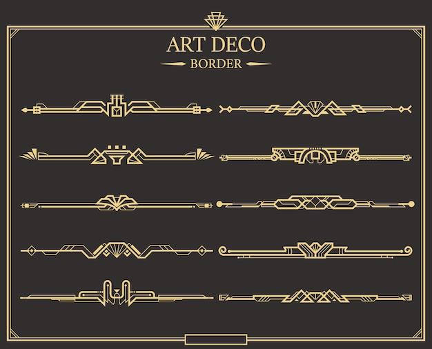 Set art deco gouden kalligrafische scheidingslijnen