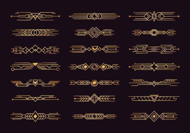 Set art deco headers en scheidingslijnen afbeelding ontwerp