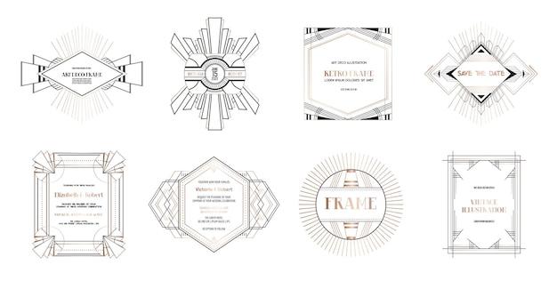 Set art deco randen en frames. geometrische sjabloon in gatsby-stijl uit de jaren 1920 voor uw trouwkaart, bewaar het datumontwerp, omslag, bannerdecoratie. vectorillustratie eps 10