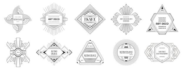 Set art deco randen en frames. geometrische sjabloon in gatsby-stijl van de jaren 1920 voor uw ontwerp, trouwkaart, omslag, bannerdecoratie. vectorillustratie eps 10