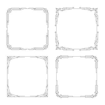 Set art deco randen en frames lijn vintage geometrisch patroon vignet decoratief lineair frame