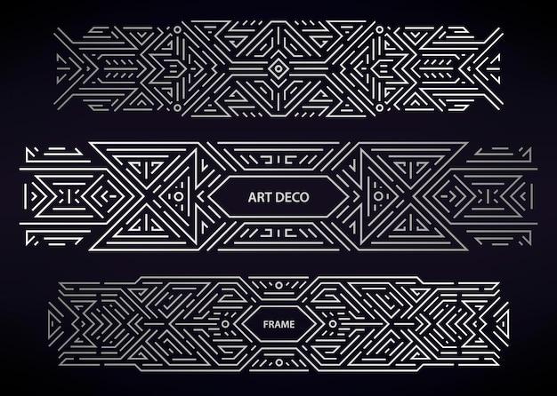 Set art deco zilveren randen, kaders, decoratieve elementen. creatieve sjablonen in de stijl van de jaren 1920.