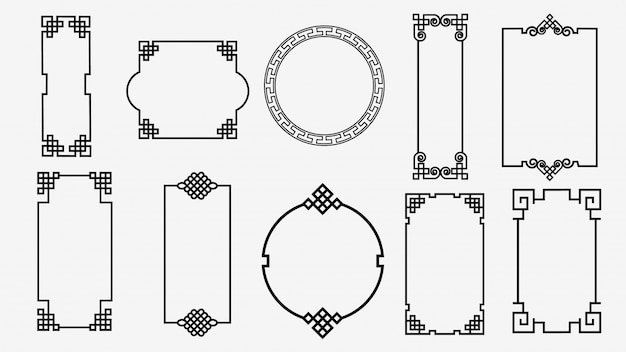 Set art frames in aziatische stijl chinese, koreaanse, japanse stijl ornament
