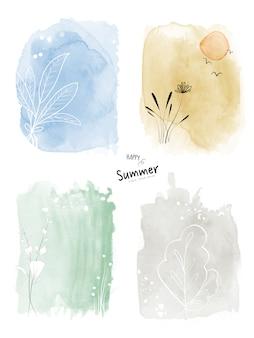 Set art zomer aquarel en doodle handgeschilderde achtergrond