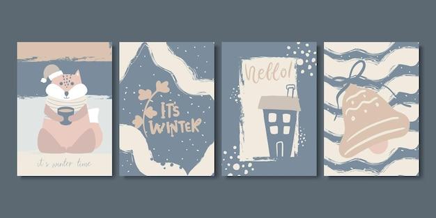 Set artistieke creatieve winter- en kerstkaarten.