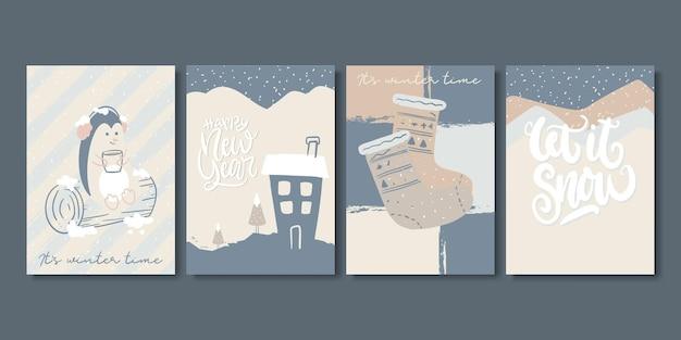 Set artistieke creatieve winterkaarten.