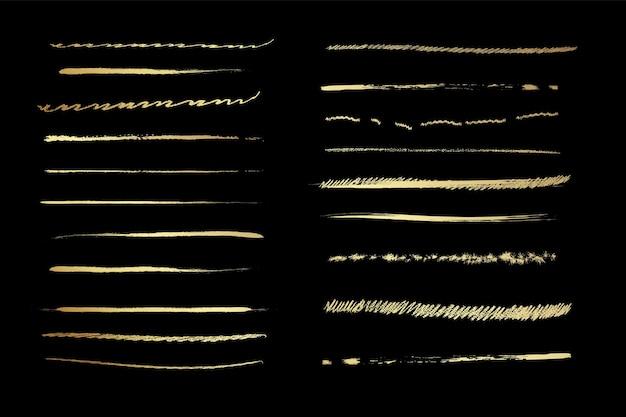 Set artistieke penborstelsdoodles-inktpenselenset van vectorgrungepenselen verzameling van penseelstreken