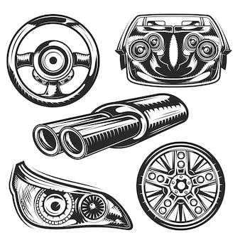Set auto-onderdelenelementen voor het maken van uw eigen badges, logo's, labels, posters enz.
