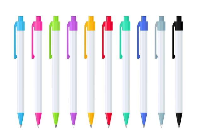 Set automatische balpennen met veer in witte kunststof koffer met veelkleurige knopen. collectie van school- of kantoorhulpmiddelen. platte vectorillustratie geïsoleerd op een witte achtergrond