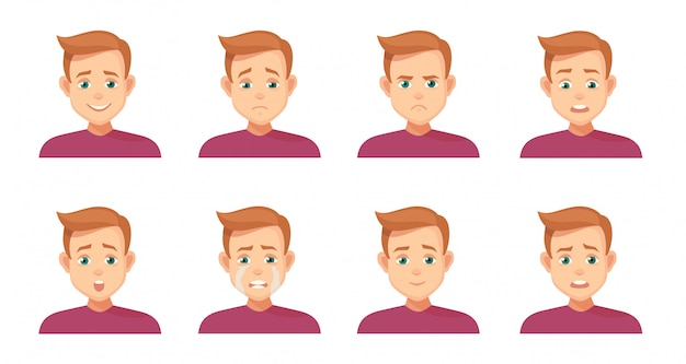 Set avatars met expressie. vreugde, gelach, verdriet, verdriet, woede, woede, verrassing, schok, huilen