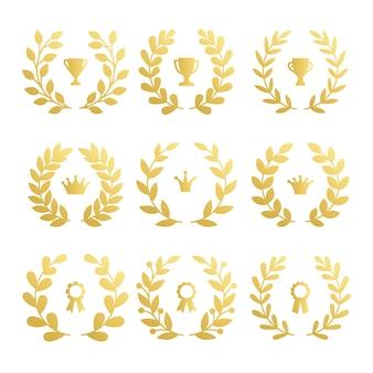 Set awards cup en kroon met lauriertak