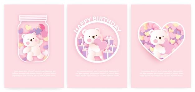 Set baby shower kaarten en verjaardagskaarten met schattige beer.