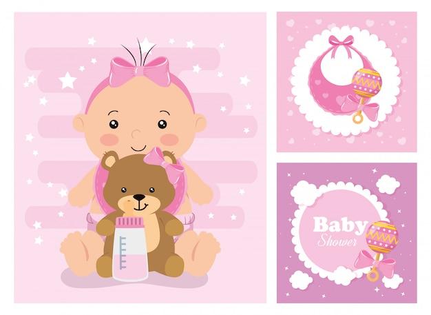 Set baby shower kaarten met decoratie