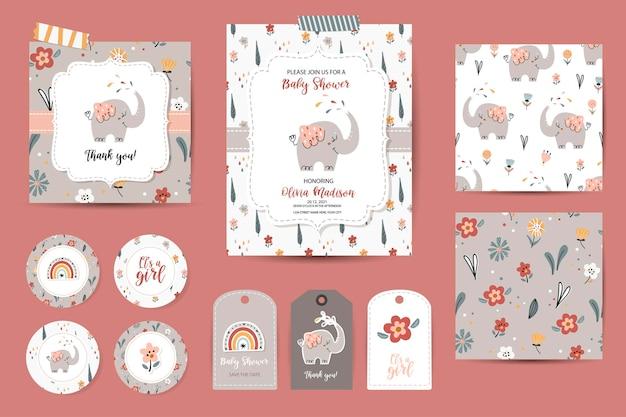 Set baby shower uitnodigingen, bedankt kaarten, tags en naadloze patronen. sjablonen met schattige olifanten