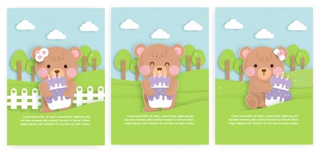 Set babydouche kaarten en verjaardagskaarten met schattige beer en cake.
