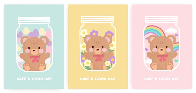 Set babydouche kaarten en verjaardagskaarten met schattige teddybeer.