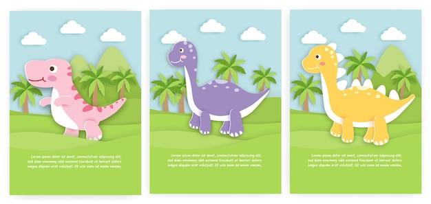 Set babydouche kaarten en wenskaarten met schattige dinosaurus in papierstijl.