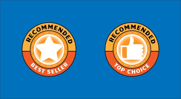 Set badge voor aanbevolen product of bestseller