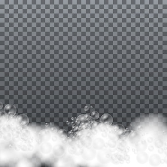 Set badschuim met shampoo bubbels en zeep, zeep schuim geïsoleerd, gel of shampoo bubbels overlay schuim, vectorillustratie