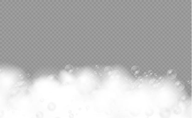 Set badschuim met shampoo bubbels zeepgel of shampoo bubbels overlay schuimtextuur