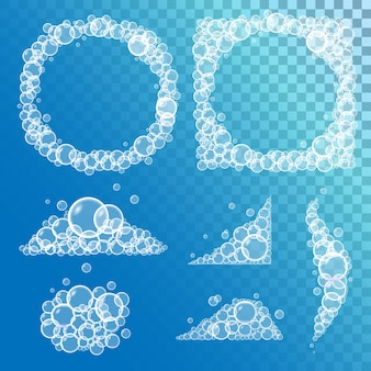 Set badzeepschuim met bubbels en randen op transparante achtergrond. vector illustratie