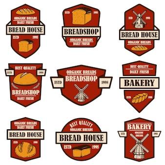 Set bakkerij, brood winkel emblemen. ontwerpelement voor logo, label, teken, spandoek, poster.