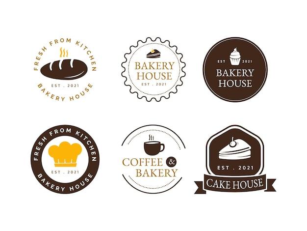 Set bakkerij logo ontwerpconcept